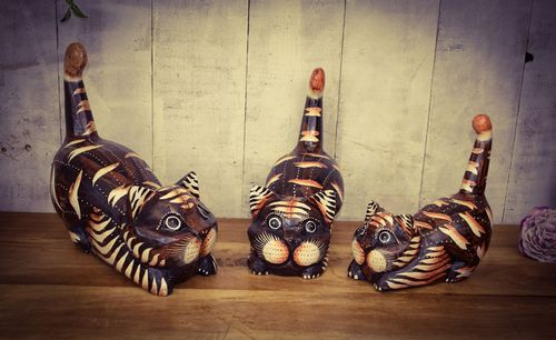 Set Of Three Sitting Cat's Wood Carvings